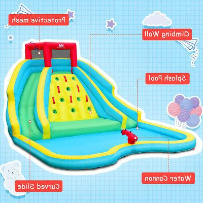 Inflatable Bouncy Splash Pool Climb Wall Two & Blower