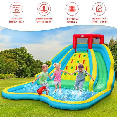 Inflatable Mighty Water Bouncy Splash Wall w/ Two Slide & Blower