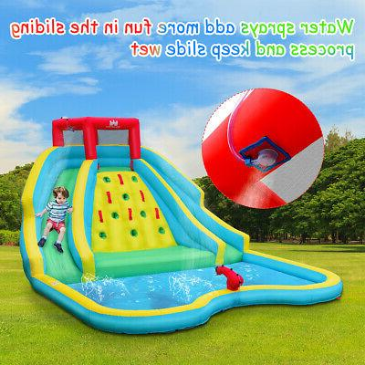 Inflatable Mighty Water Park Climbing Wall Slide