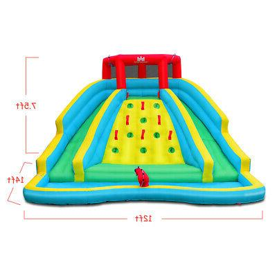 Inflatable Mighty Water Park Climbing Wall Two Slide