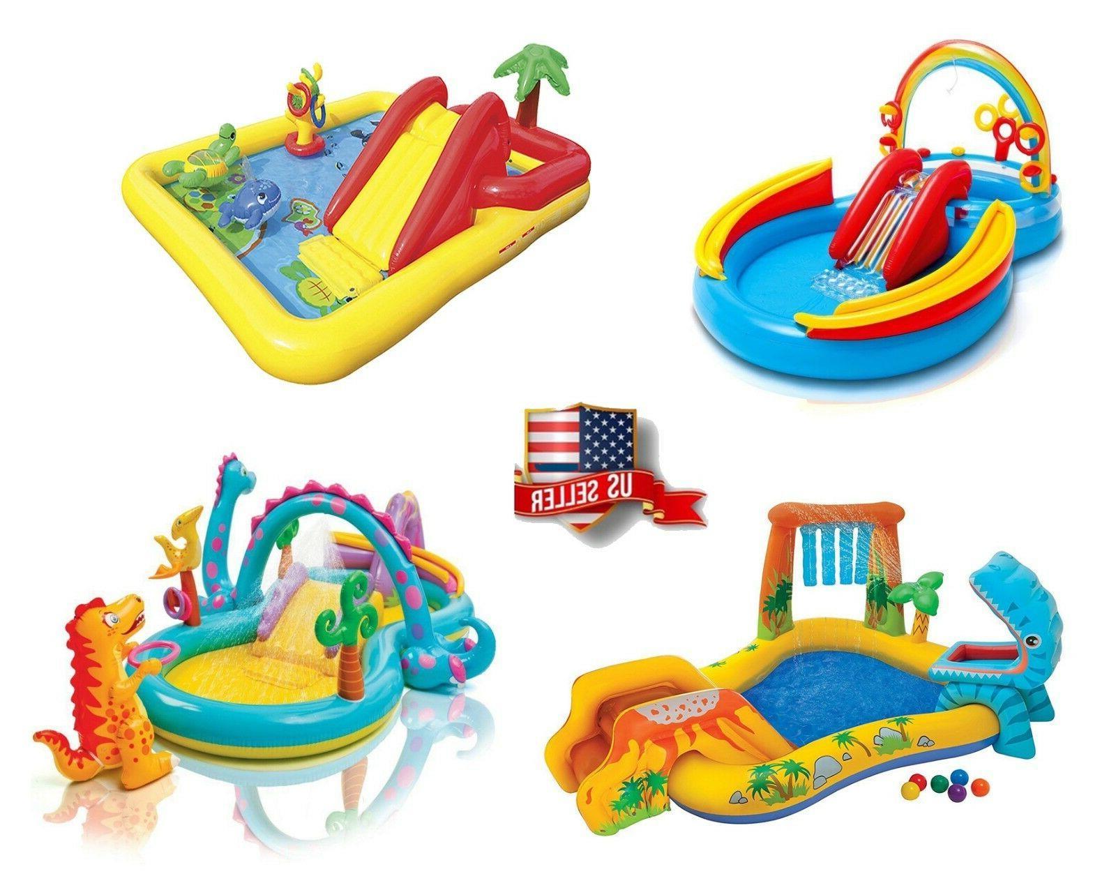 Intex Inflatable Pool Water Play Rainbow Ring Center Slide B