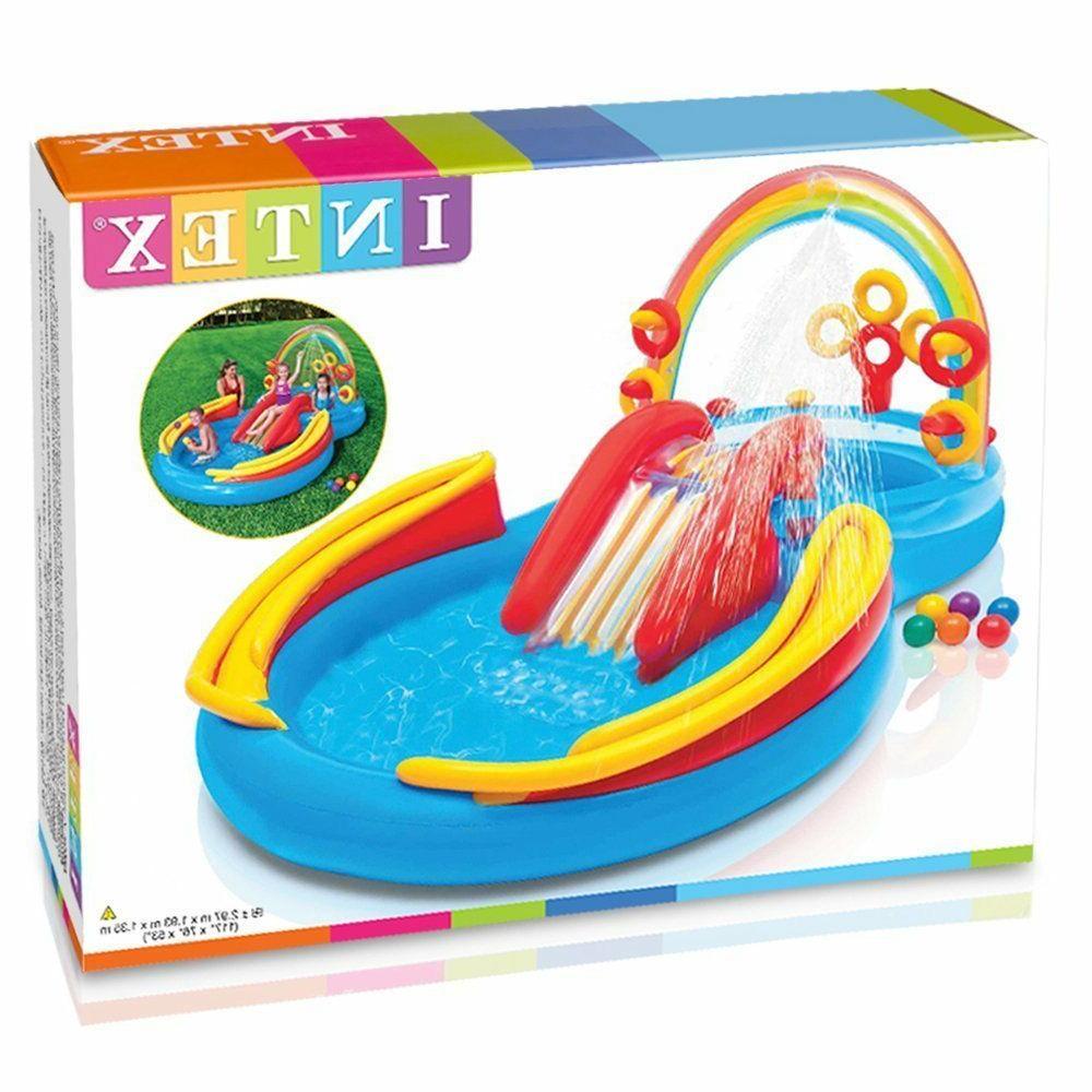 Intex Inflatable Play Rainbow Ring Slide Backyard
