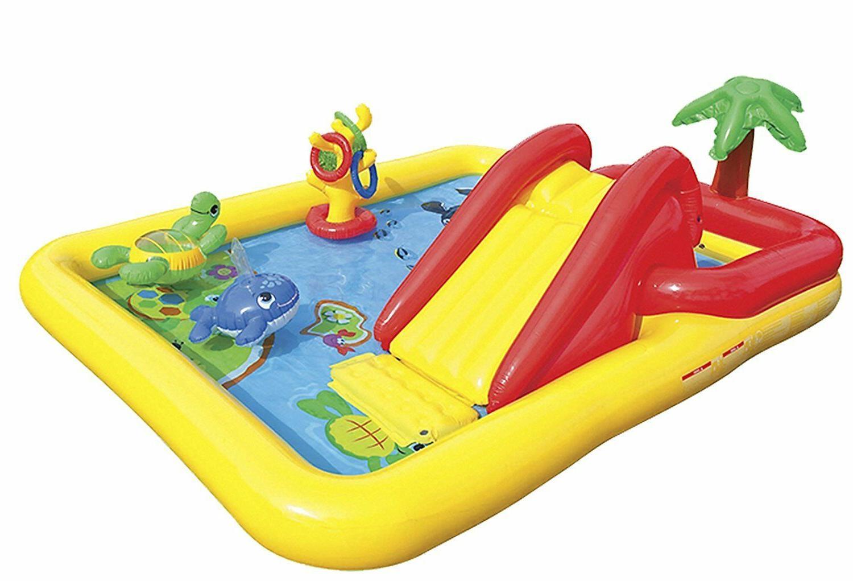 Intex Inflatable Water Play Rainbow Ring Slide Backyard Games