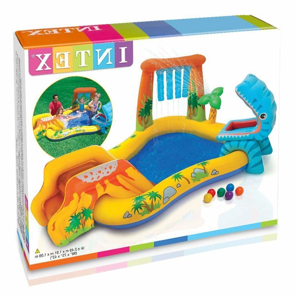 Intex Inflatable Play Rainbow Ring Slide Backyard Games
