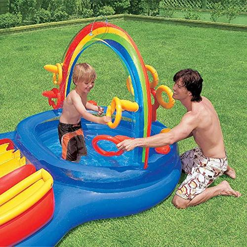 Intex Play Rainbow Center Slide Games Kids 57453EPIntex Inflatable Play Center Kids Pool w/Games