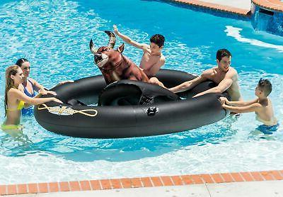 Intex Inflatable Water Slide, Red & Inflatabull Bull-Riding Float