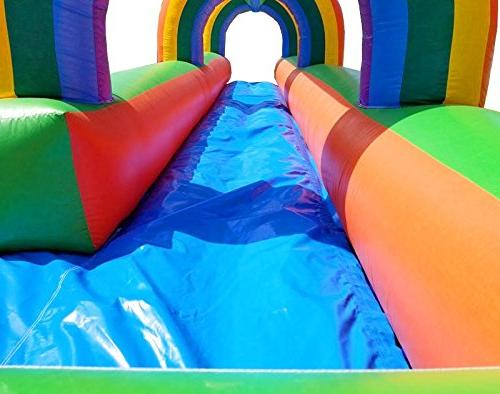 Pogo House Inflatable Slip Slide, Long, Tall, Wide, Crossover Complete, Stakes, Repair and Storage Bag