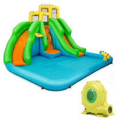 inflatable water park bounce house two slide