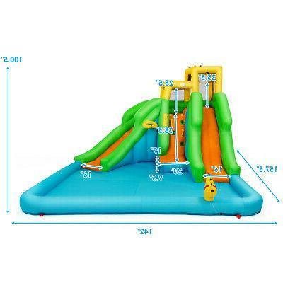 Kids Water Park Bounce Play w/Climb Wall Slides