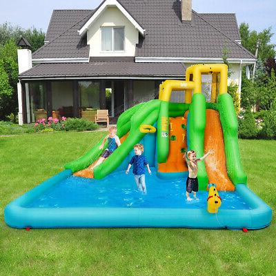 Inflatable Water Park Bounce House Wall Two Slides