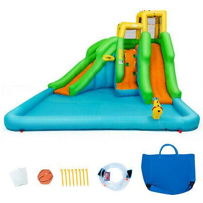 Inflatable Park Bounce House Two-Slide w/Climbing Wall&680W Blower