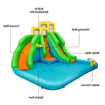 Inflatable Water House w/Climbing Wall Two Slides