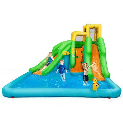 Inflatable Water Park Bounce House w/Climbing Wall Two Slide