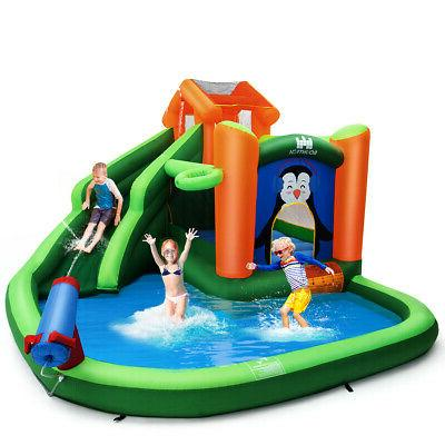 inflatable water park slide bouncer w climbing