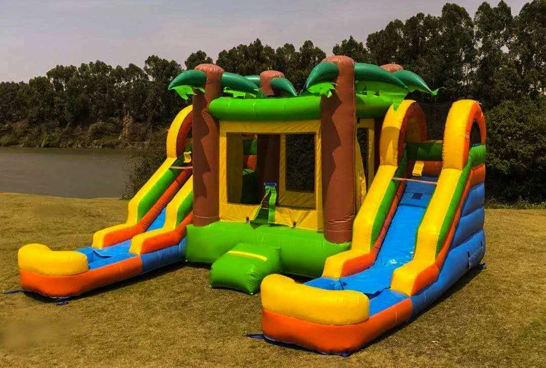 inflatable water slide combo dual lane tropical
