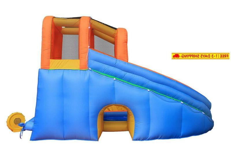 Inflatable Pool Bouncy Waterslide for Backyard with Blower