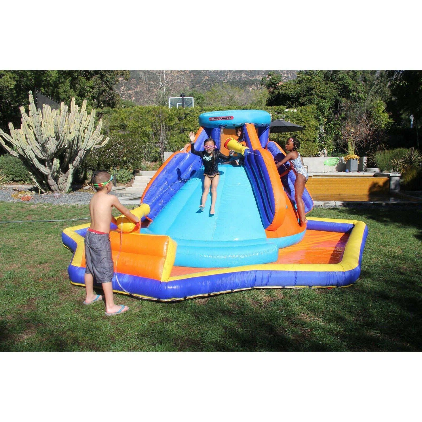 Inflatable Water Slide Splash Kid Park Blower Commercial