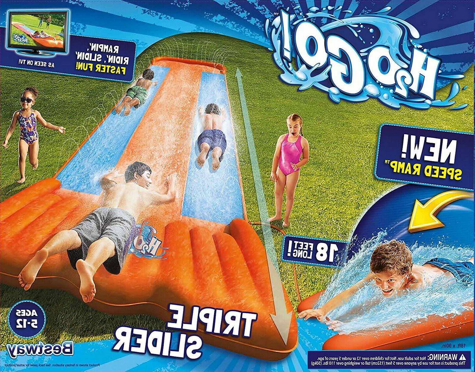 inflatable water slide triple lane