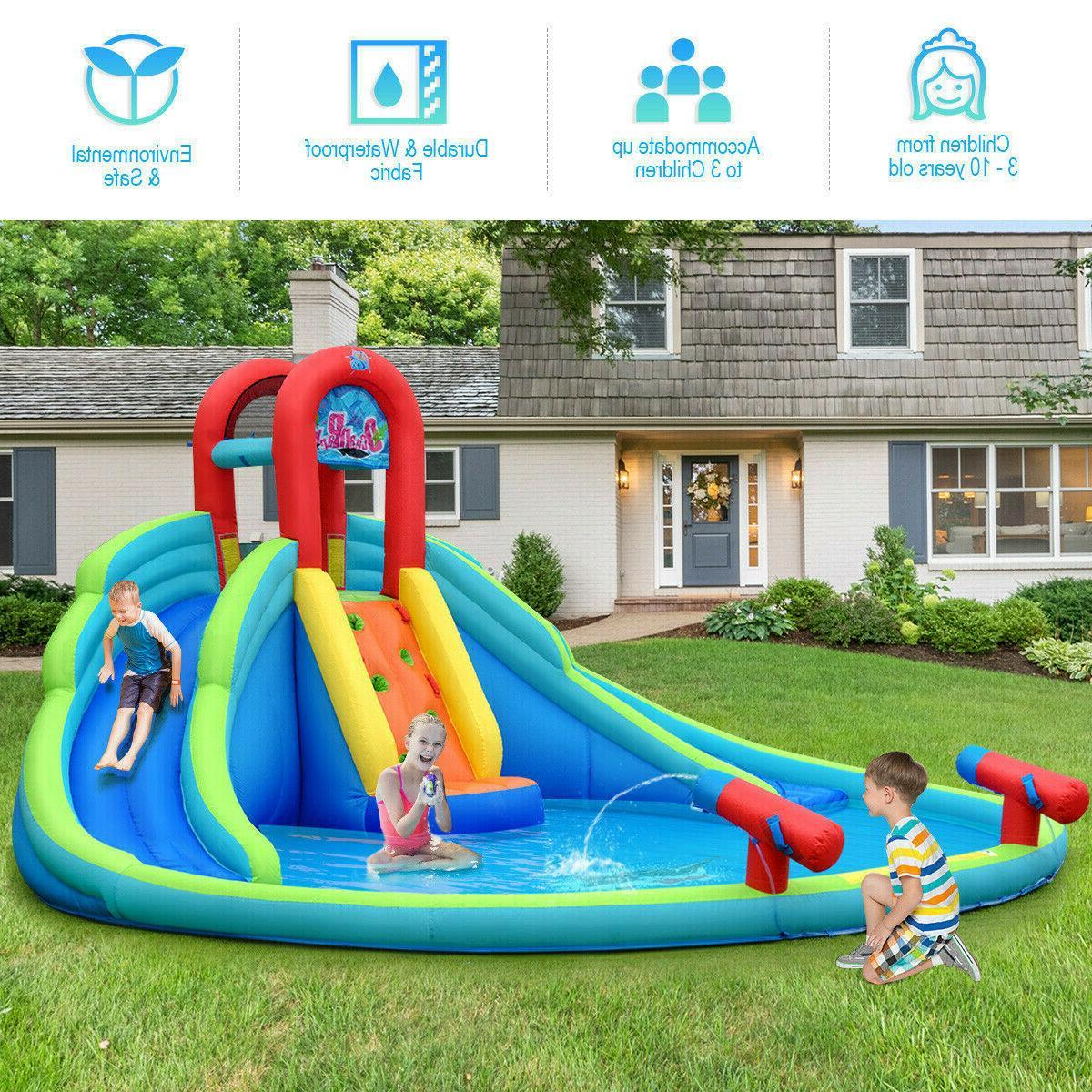 Inflatable Water Slide Triple Pool Kid Park Backyard