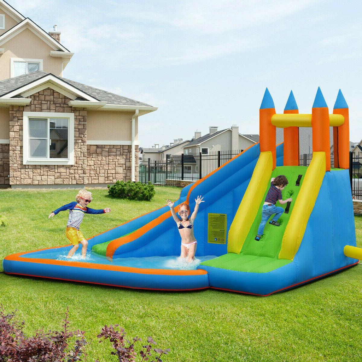 Inflatable Water Triple Pool Park Backyard Play Fun Splash