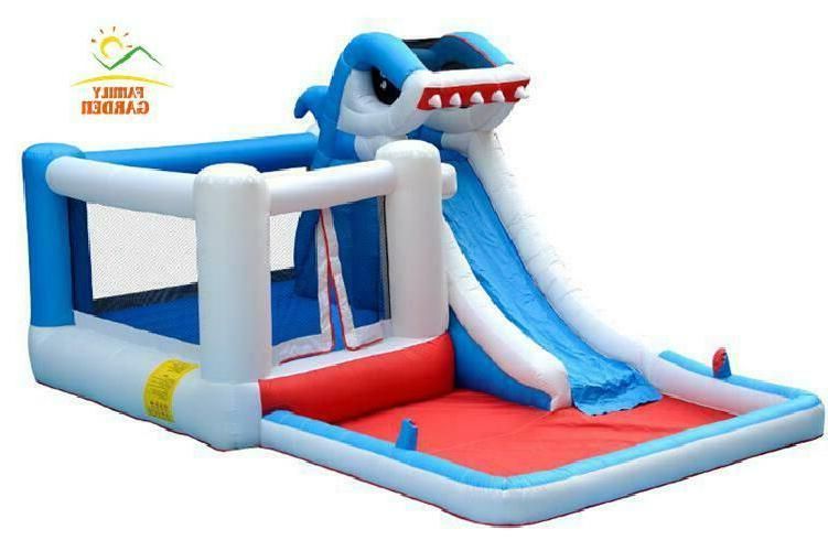 Kids Commercial Shark Water Slide Bounce House With Air Blower!!