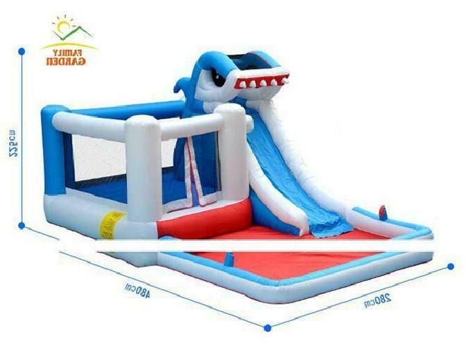 Kids Big Commercial Shark Water Slide Bounce House With