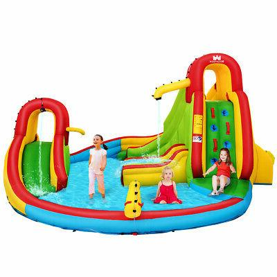 Kids Inflatable Slide Bounce Splash w/Water Blower