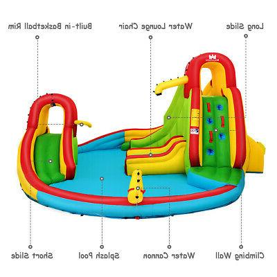 Kids Inflatable Water Bounce w/Water Cannon & Blower