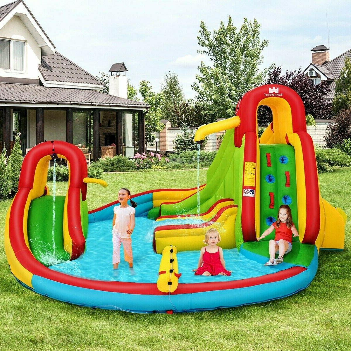 Kids Inflatable Water Slide Park with Climbing Wall Water Ca