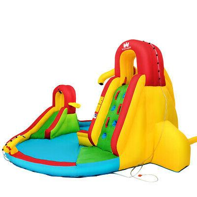 Kids Inflatable Park Climbing Wall Water Cannon Splash Pool