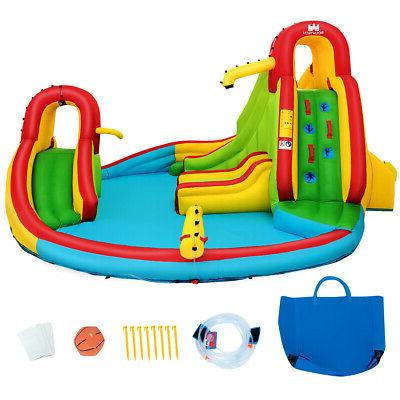 kids inflatable water slide park with climbing