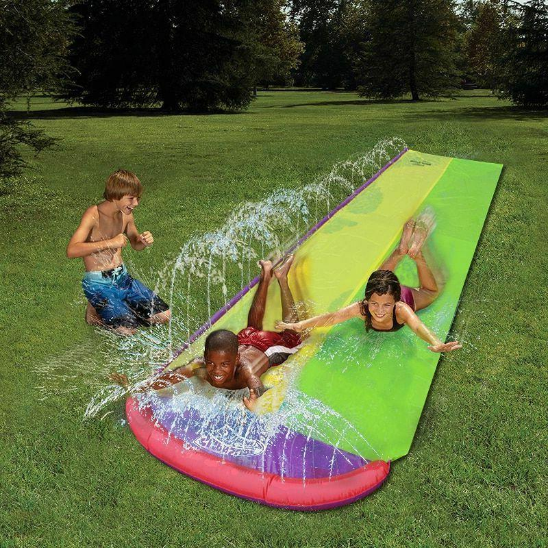 Water Lawn Water Slides Children Kids Games Fun backyard