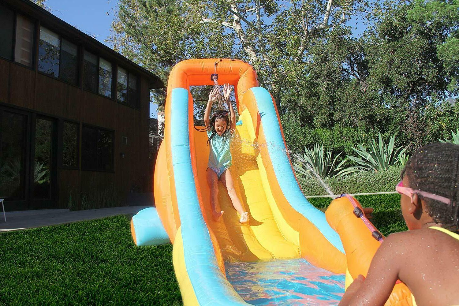 my first inflatable water slide water cannon