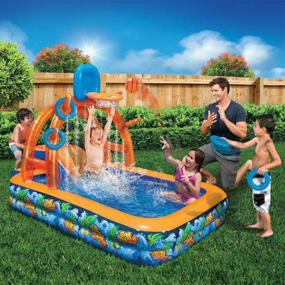 outdoor summer fun kids basketball water park