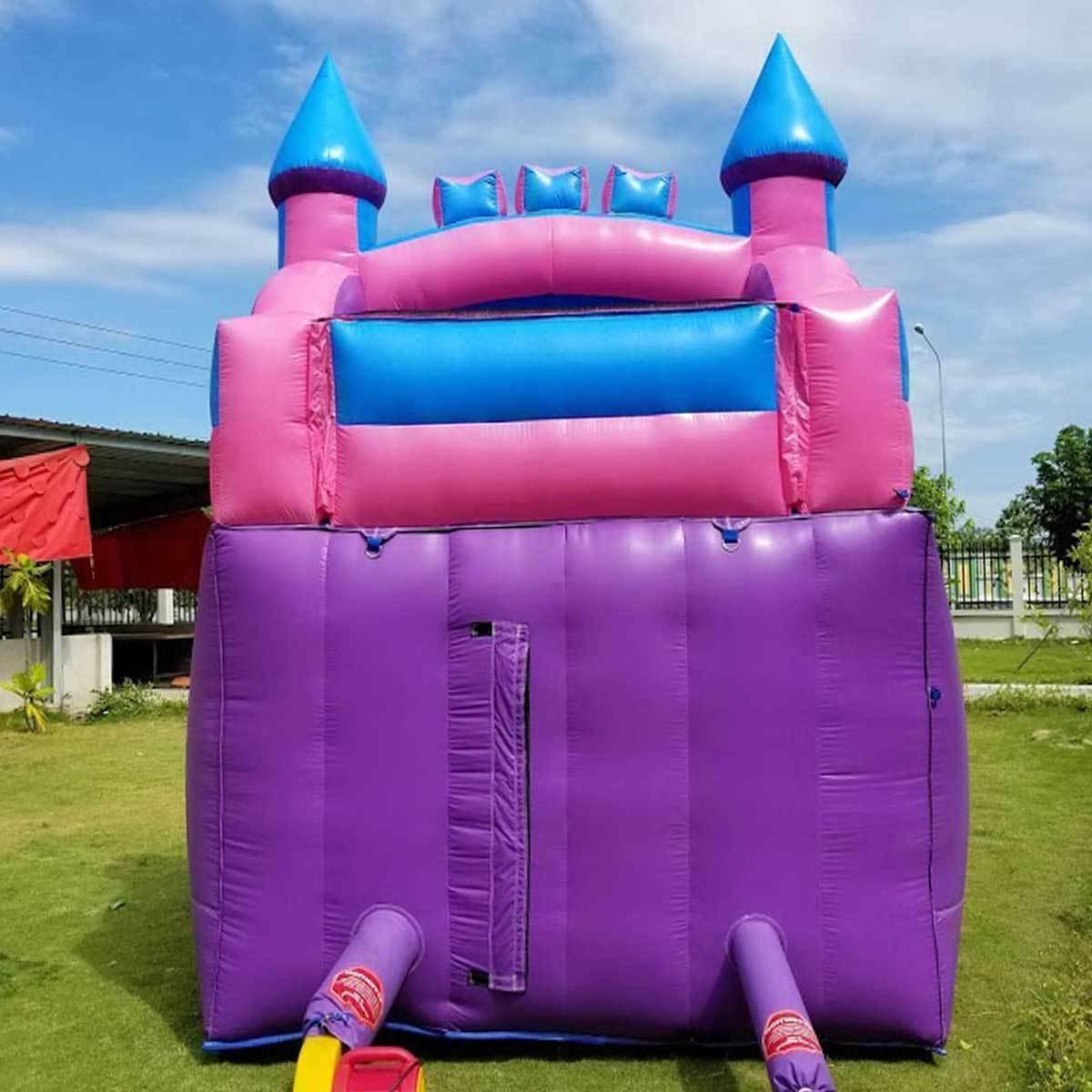Pink Inflatable Water Slide Lane Bouncy Dry &