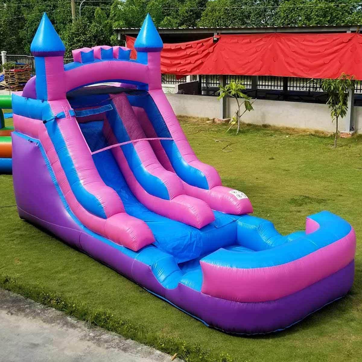 Pink Blue Slide Single Lane Bouncy Dry Slide & Blower