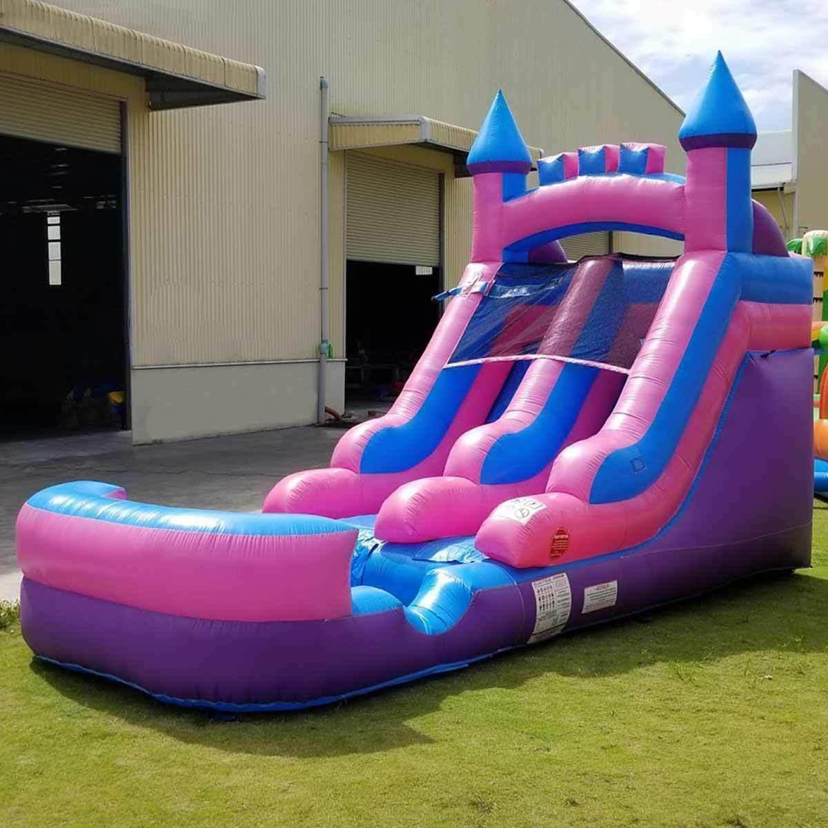 Pink Blue Inflatable Slide &