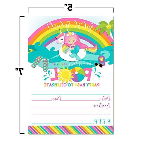 Pink Unicorn Pool Party Invitations, 20 in Cards