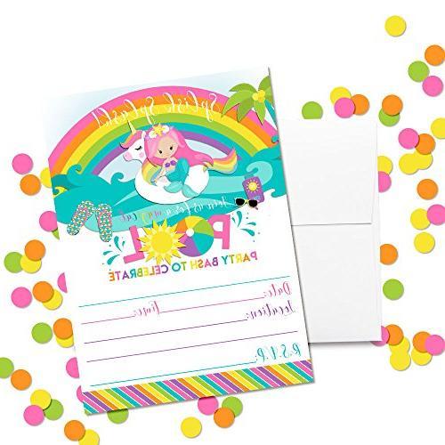 Pink Rainbow Pool Birthday Invitations, 20 White by