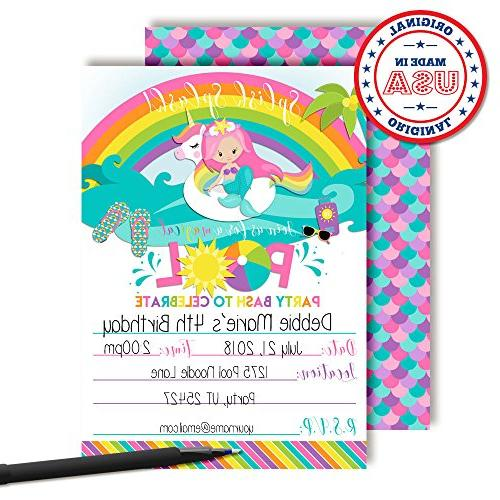 Pink Mermaid Pool Party Invitations, in Cards with White