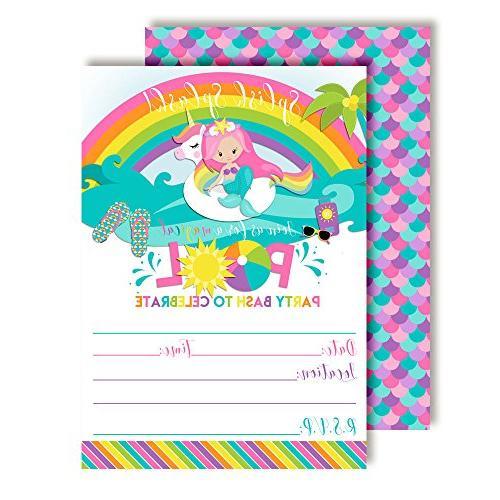 pink mermaid unicorn rainbow pool