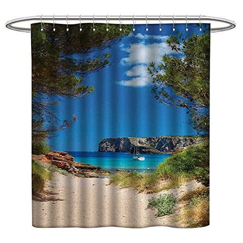 polyester fabric shower curtain beach