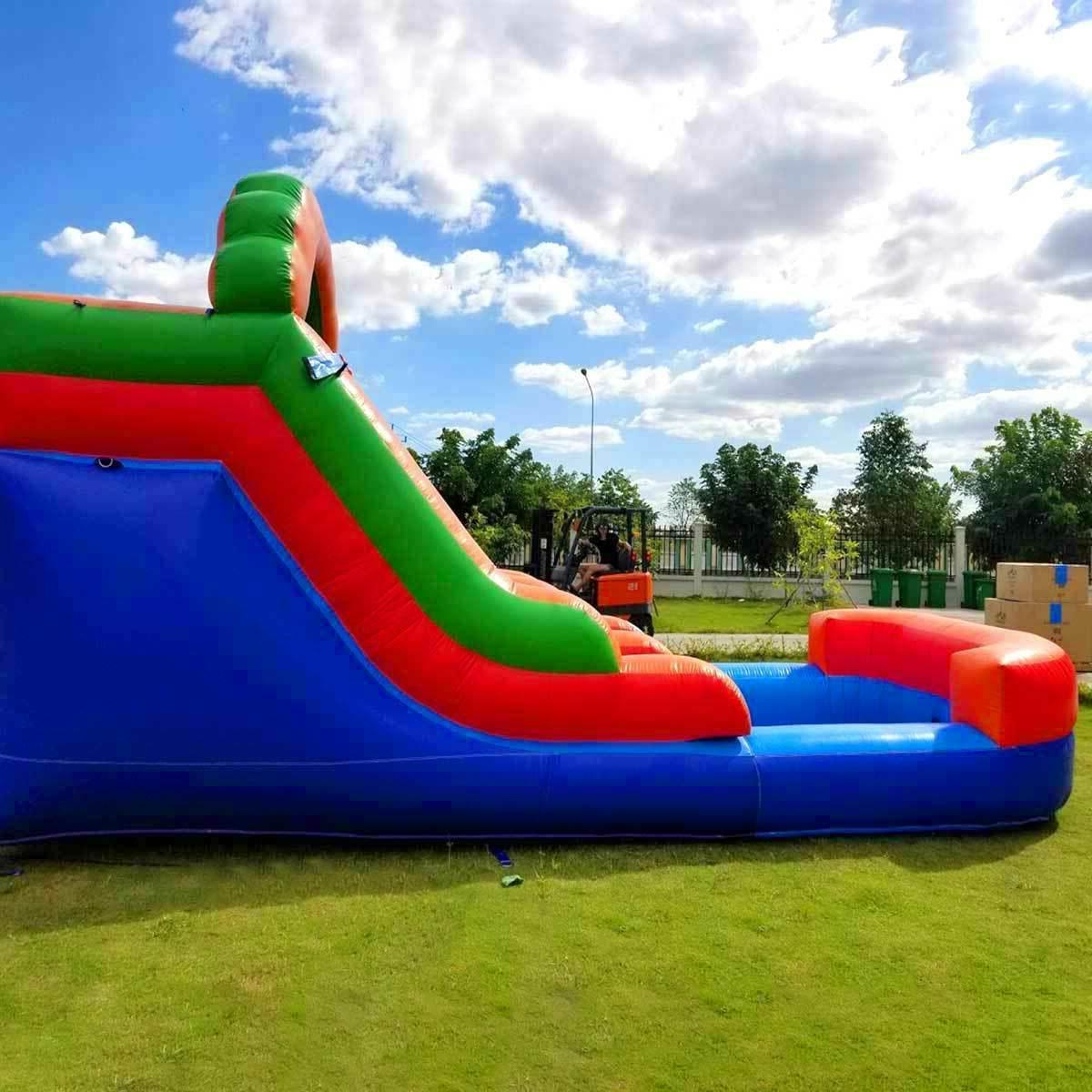 Rainbow Inflatable Slide Single Wet Slide W/ Blower