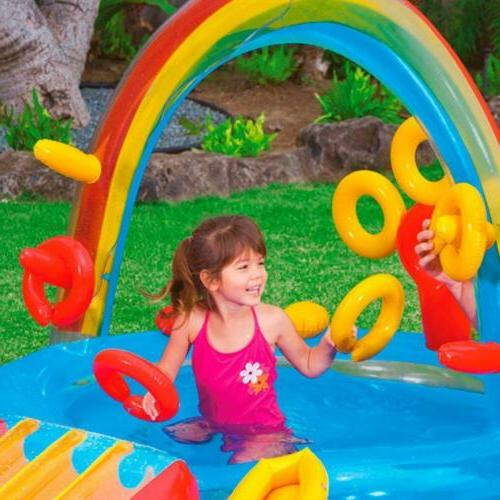 Intex Rainbow Ring Inflatable Play Center w/Water Sprayer