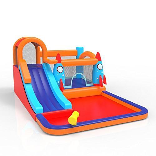 MEIOUKA Bounce Castle Pool Ball Slide Water Trampoline Bouncing Kids Outdoor