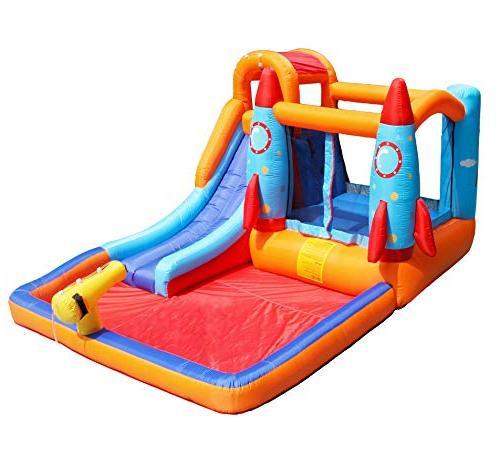 MEIOUKA Inflatable Castle with Pool Pool, Slide Water Trampoline Kids
