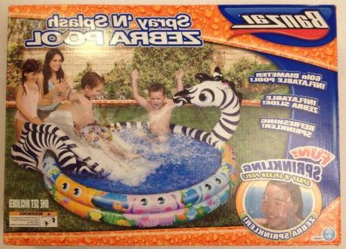 Banzai Shade n Sun Zebra Inflatable Swimming Pool with Sprin