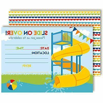 slide into summer waterslide birthday party invitations