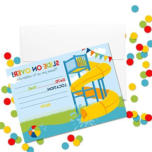 Slide Into Birthday Invitations for Boys, Fill in White Envelopes by