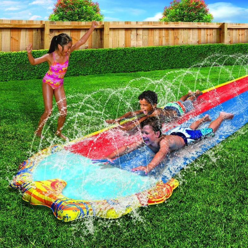 Banzai Sprint Slide With Foot Dual Racing Splash Pool